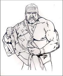 Hulk Hogan Original Pen & Ink art done for official WWE Merchandise