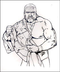 Hulk Hogan Original Pen & Ink art done for official WWE Merchandise