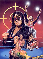 "Bret ""The Hitman"" Hart-15.5""x 21""  WWE merchandise catalog art- $1,500"