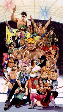 "WWE Legends- Watercolor- 17""x 30"" $10,000"