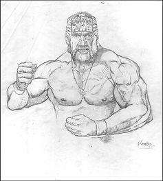 "Hulk Hogan Original pencil drawing for ""Old School"" painting"