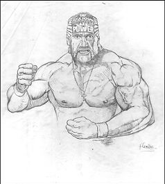 "Hulk Hogan Original pencil drawing for ""Old School"" painting"