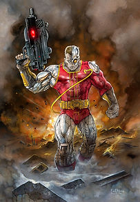 "DEATHLOK- Ultra Spiderman 2017 trading card art 11""x 16"""