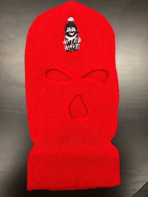 Red Water Wave Ski Mask