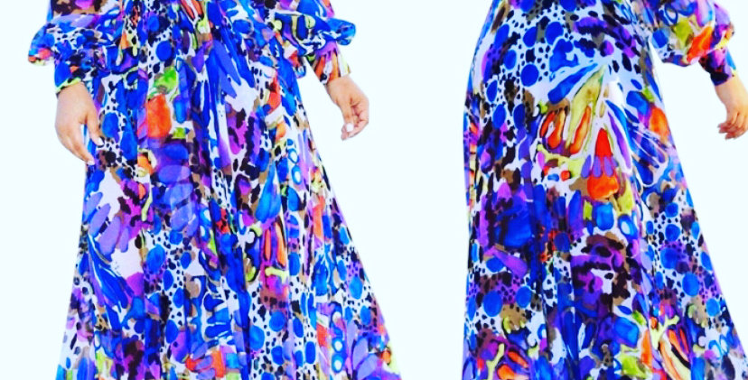 Chiffon multi color dress