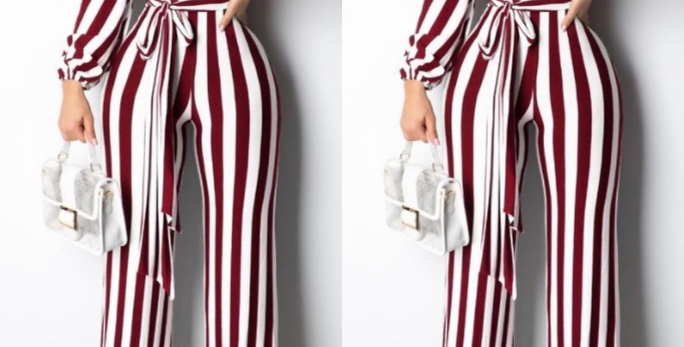 Red strip jumpsuit
