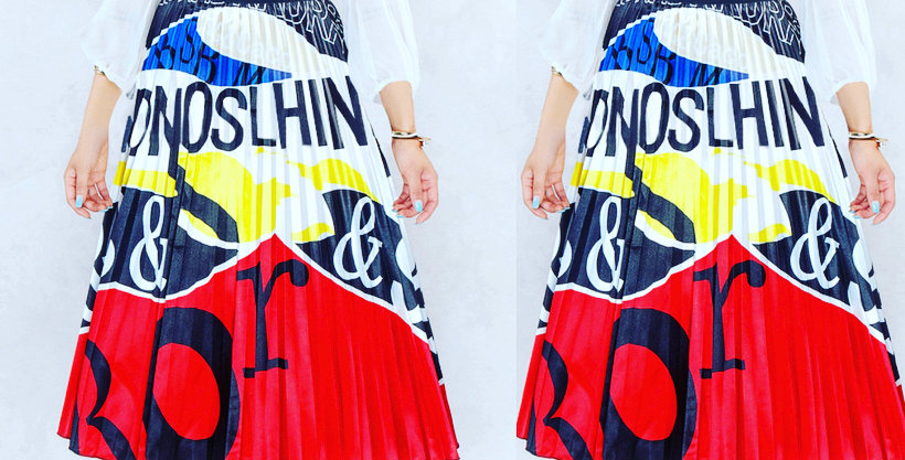 Pleated swing skirt A