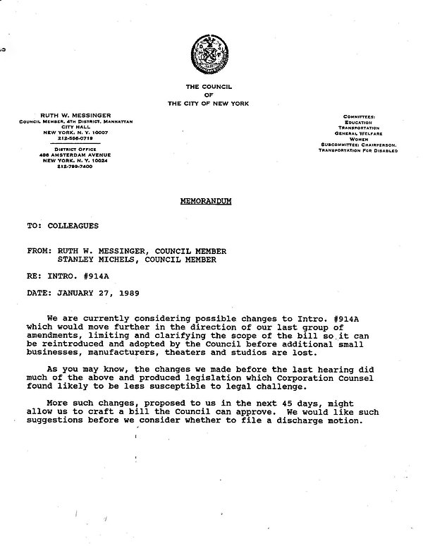 Jan 27, 1989 Messinger Memo on changing