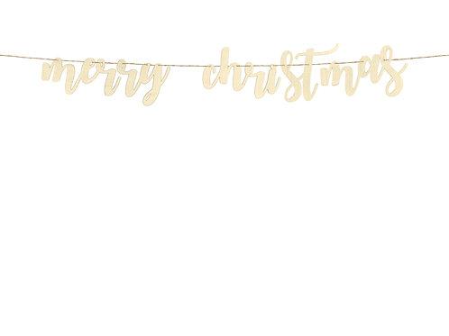Grinalda de madeira Merry Christmas