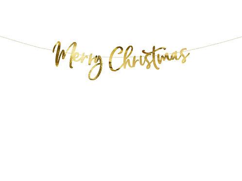 Grinalda Merry Christmas dourada