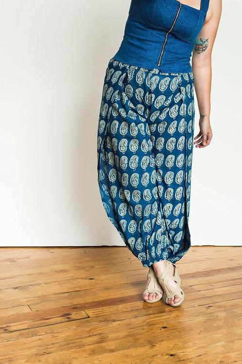Harem Pants - blue paisley