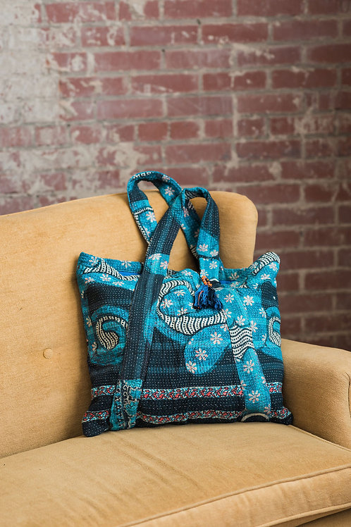 Turquoise and black tote