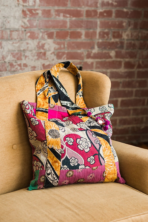 Hot pink and orange tote