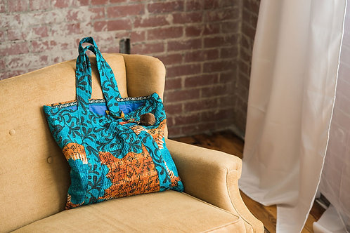 Turquoise with gold tote
