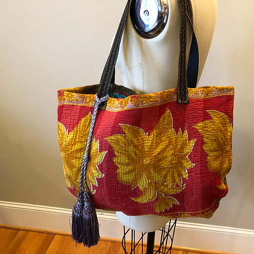 Red with gold flowers tote