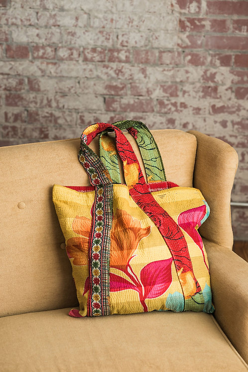 Yellow red with green strap tote