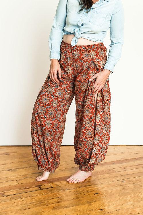 Harem pants - red block print