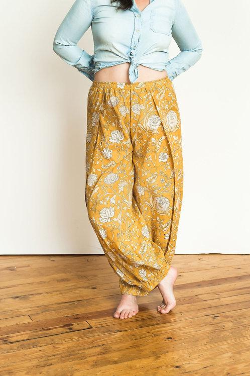 Harem Pants - gold floral