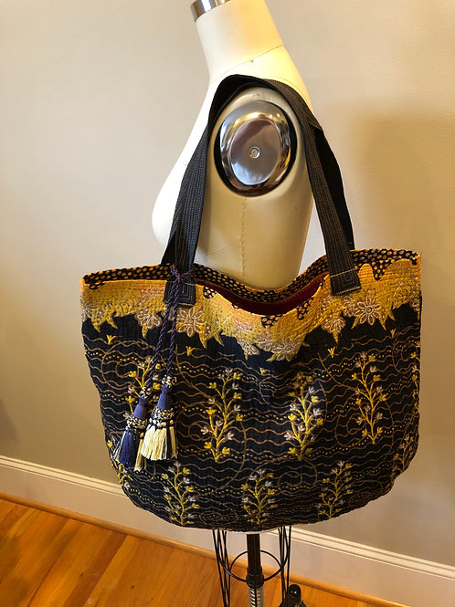 Black with gold kantha tote