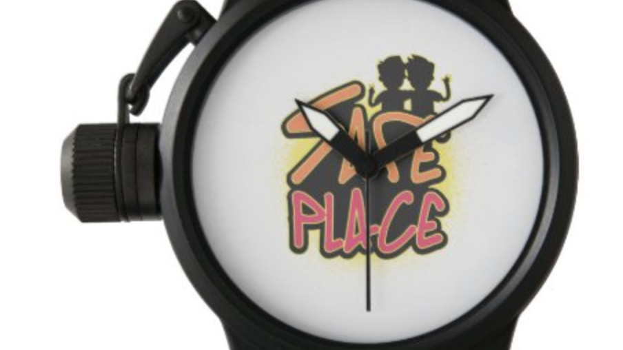 Safe Place Crown Protector Black Rubber Strap Watch