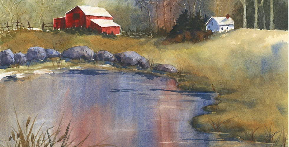 lake red barn country mountains stream river landscape