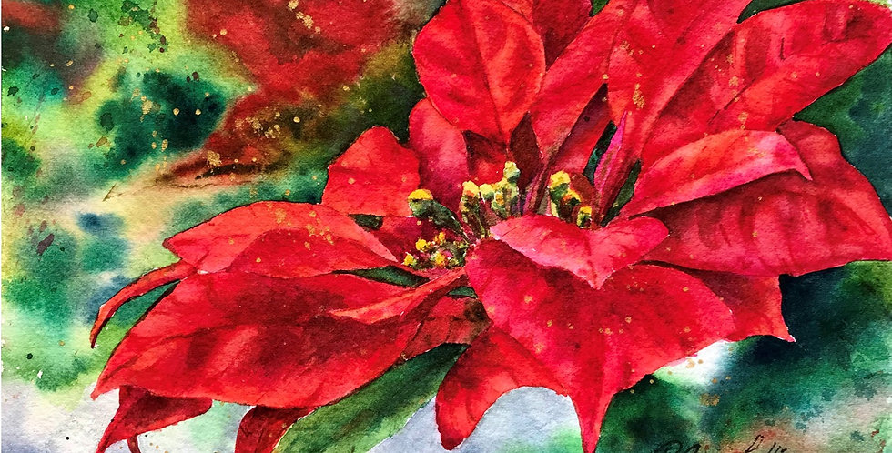 Red Christmas Poinsettia Flower watercolor