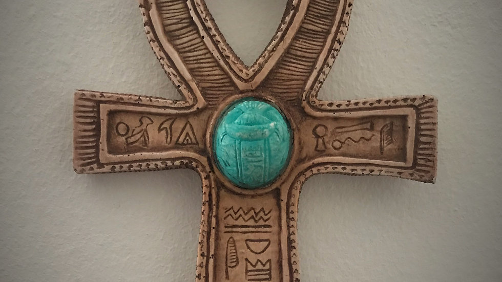Egyptian Ankh with Scarab (Beige)