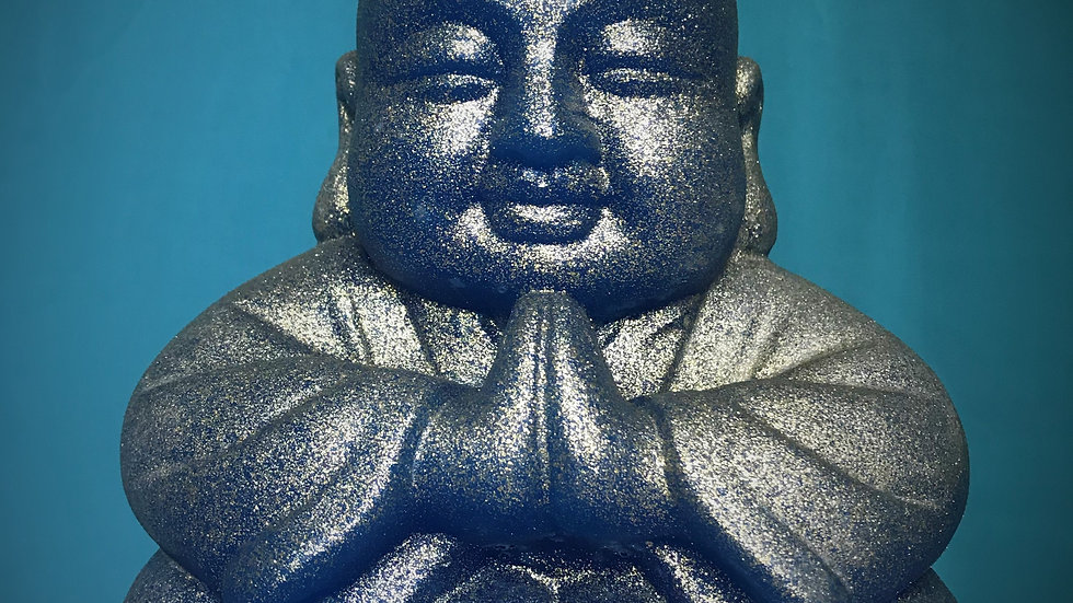 Buddha Candle (Blue/Gold Glitter)