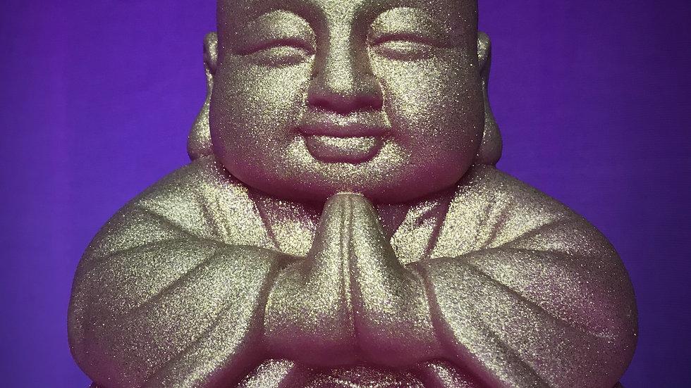 Buddha Candle (Pink/Gold Glitter)