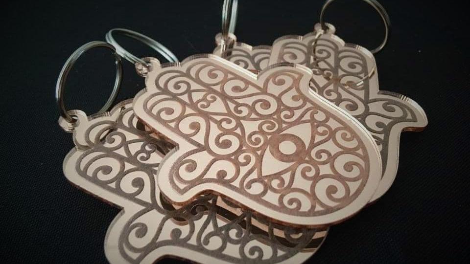 Hamsa Hand - Rose-Gold Acrylic Keyring