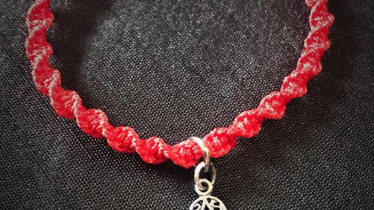 Red Kabbalah Bracelet with Sterling Silver Hamsa-Hand