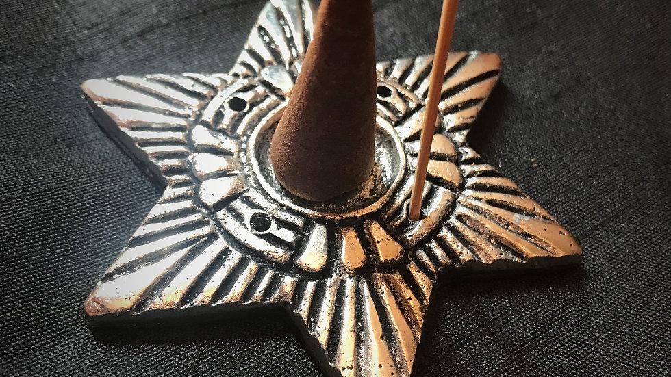 Aluminium-Incense/Cone Holder (Hexagram Star)