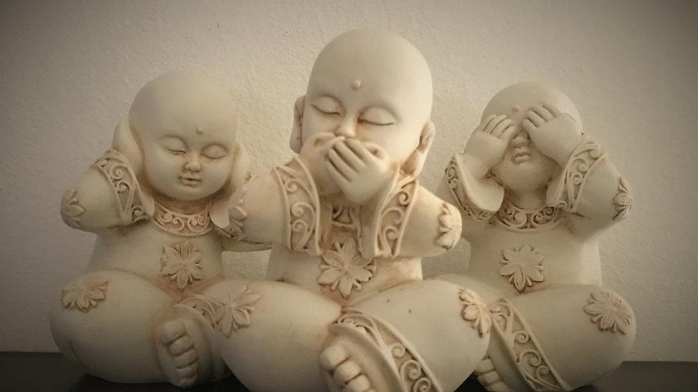 Three Wise Buddha-Monks (Set of 3)