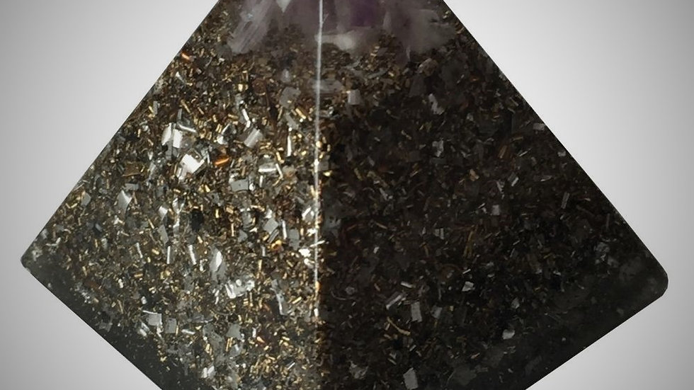 Orgonite Pyramid - Amethyst & Brass Ball