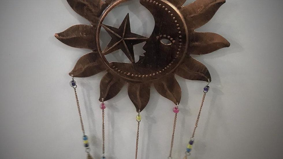 Sun, Moon, Stars-Chime with Bells (Medium/Bronze)