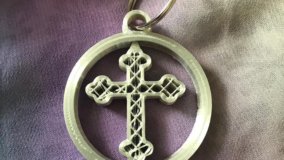 Cross Gyro/Spinning-Keyring - (Silver)