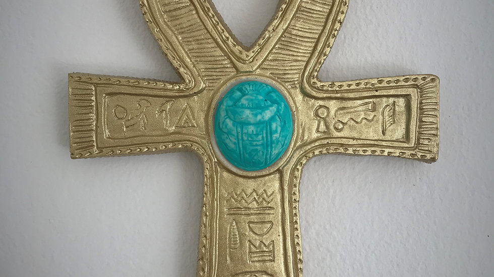 Egyptian Ankh with Scarab (Gold)
