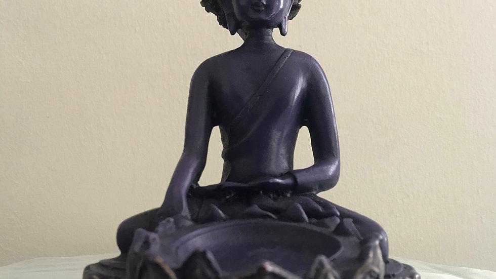 Tibetan-Buddha Candle Holder - (Purple/Silver)