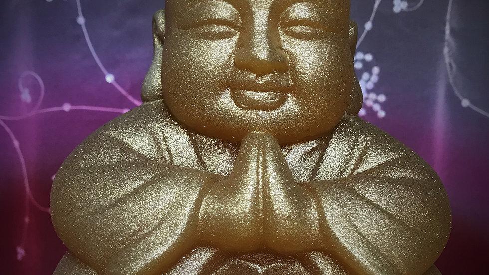 Buddha Candle (Orange/Gold Glitter)
