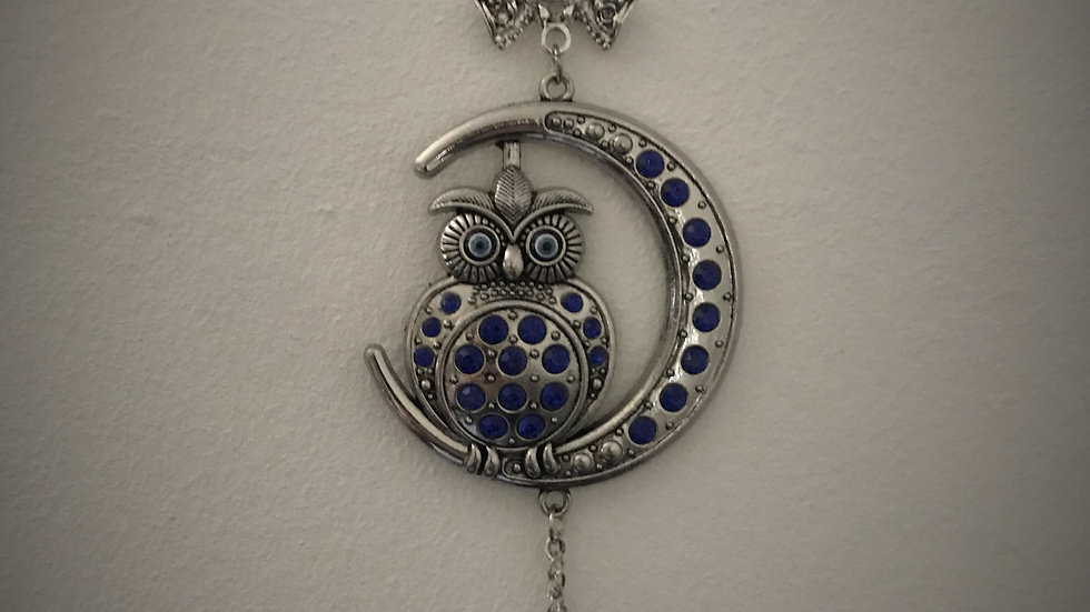 Owl Sitting/Crescent-Moon, Wall-Hanging