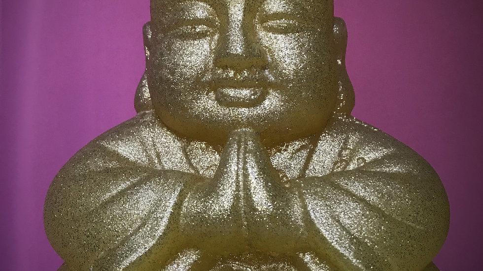 Buddha Candle (Yellow/Gold Glitter)