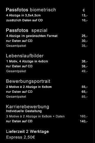 Preise Bewerbungsbilder  Studio Eram