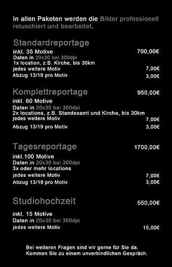 Preise Hochzeit Photographie Studio Eram