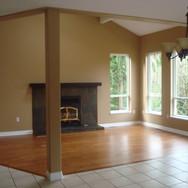 Living room & Wood Fireplace