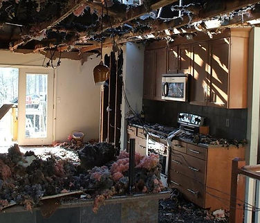 Fire damaged home requiring painters