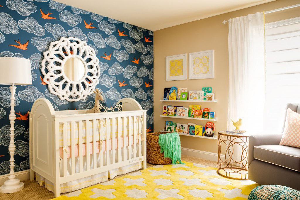 Wallpapered Nursery Feature Wall
