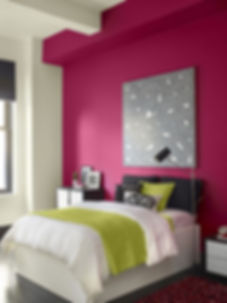 red violet paint in re painted bedroom