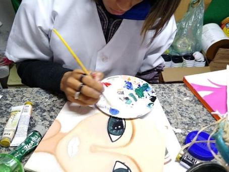 Realizaremos uma exposição de pintura em tela de nossos atendidos na empresa parceira Asvotec.