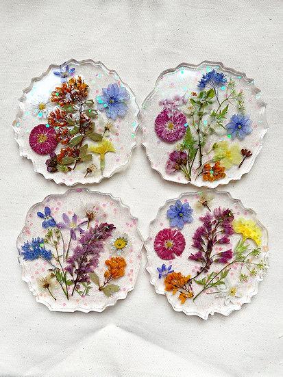 Flower Press Resin Coasters x4
