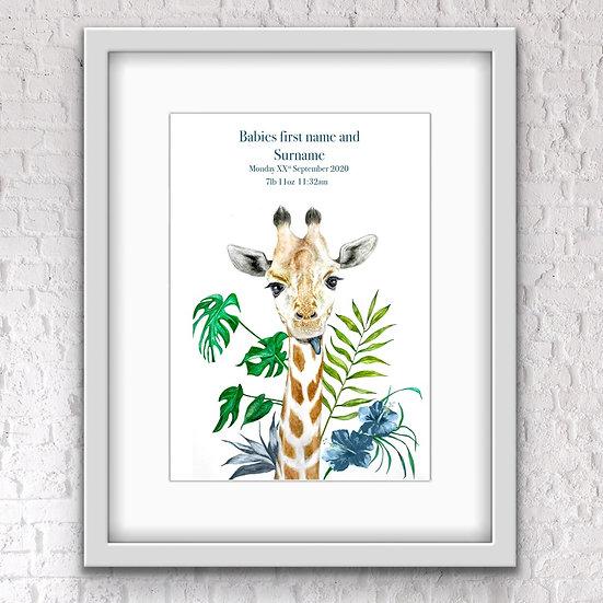Personalised baby giraffe